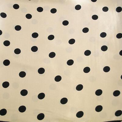 Šátek saténový - béžovo-černý s puntíky - 2