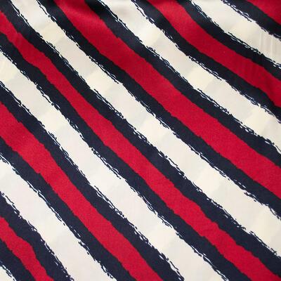 Šátek saténový - červeno-bílý s pruhy - 2