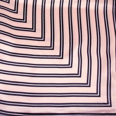 Šátek saténový - růžovo-šedý s pruhy - 2