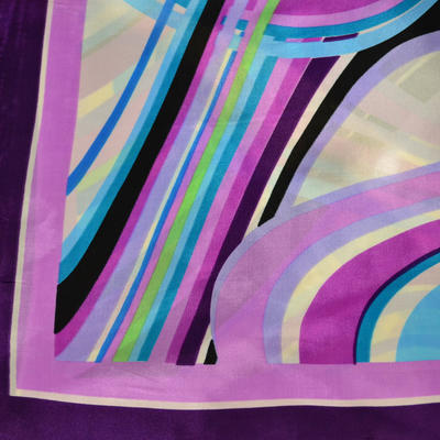 Šátek saténový - fialovomodrý pruhovaný - 2