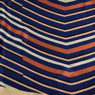 Šátek saténový - modrý pruhovaný - 2