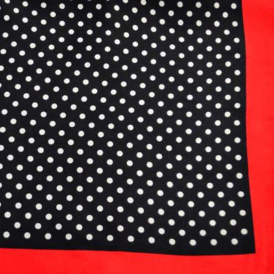 Šátek saténový - černočervený puntíkovaný - 2