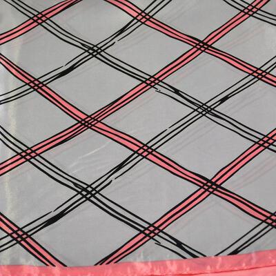 Šátek saténový - šedo-růžový s pruhy - 2