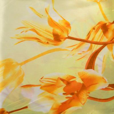 Šátek saténový - žlutý s květy - 2
