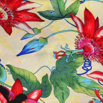 Šátek saténový - béžovčervený s kytičkami - 2
