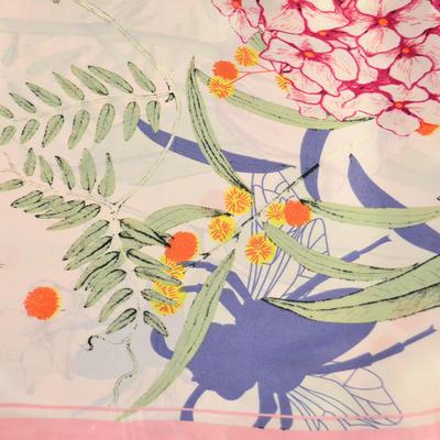 Šátek saténový - růžový s květy - 2
