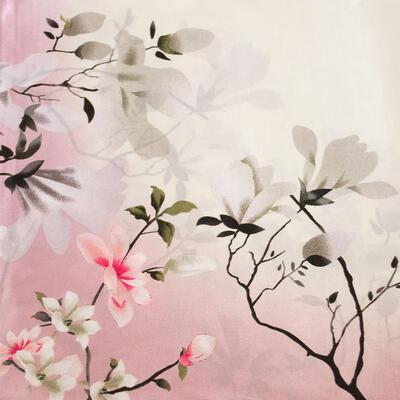 Šátek saténový - růžovo-béžový s potiskem - 2