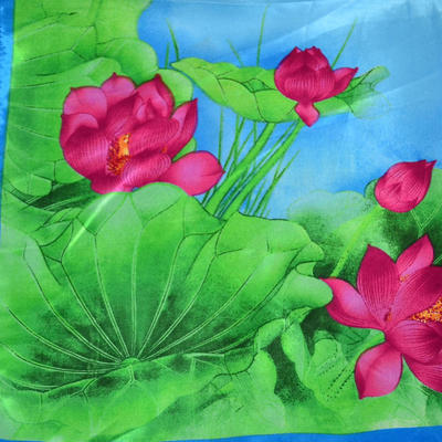 Šátek saténový - modrozelený - 2