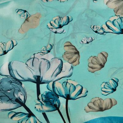 Šátek saténový 63sk004-54 - mentolový s květy - 2