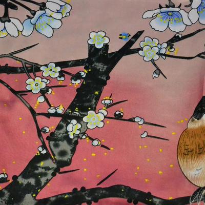 Šátek saténový - růžový s ptáky - 2