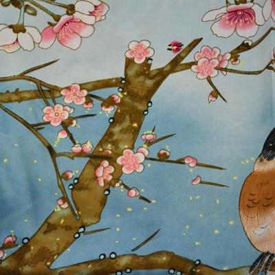 Šátek saténový - modrý s ptáky - 2
