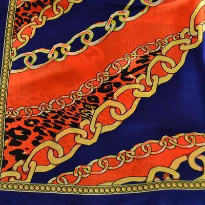 Šátek saténový 63sk007-30.11 - modrooranžový, zvířecí potisk - 2
