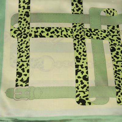 Šátek saténový - zelenobéžový - 2