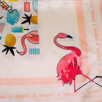 Šátek saténový - bílo-růžový s potiskem - 2