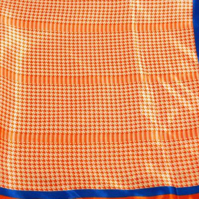 Šátek saténový - oranžovo-bílý s potiskem - 2