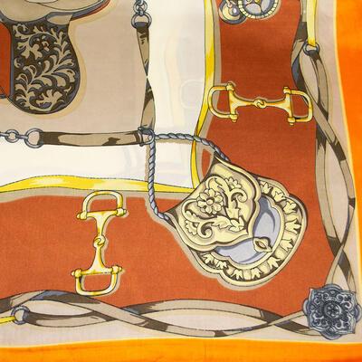 Šátek saténový - oranžovo-béžový s potiskem - 2