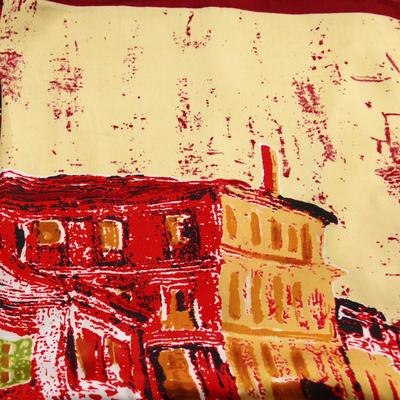 Šátek saténový - červenobéžový - 2