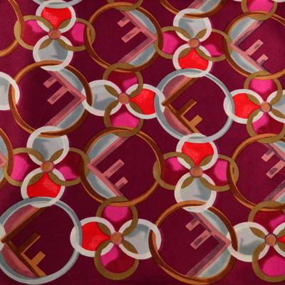 Šátek saténový - červený s potiskem - 2