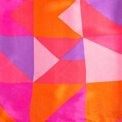 Šátek saténový - růžovo-fialový s potiskem - 2