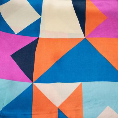 Šátek saténový - barevný s potiskem - 2