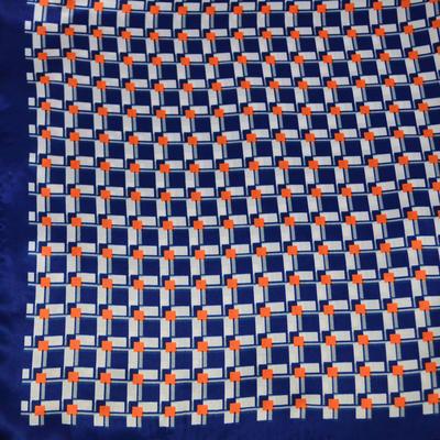 Šátek saténový - modrý s potiskem - 2