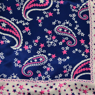 Šátek saténový - modrorůžový s potiskem - 2