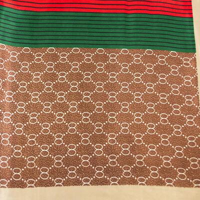 Šátek saténový - hnědo-zelený s potiskem - 2