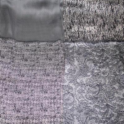 Šátek saténový - šedo-bílý s potiskem - 2