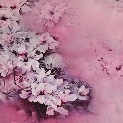 Šátek hebký - růžový s květy - 2
