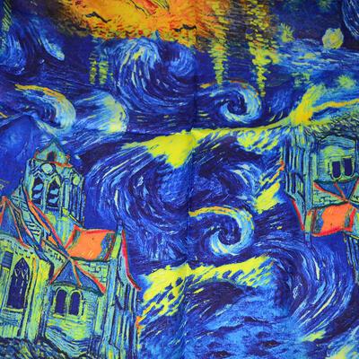 Šátek hebký - modrý s potiskem - 2