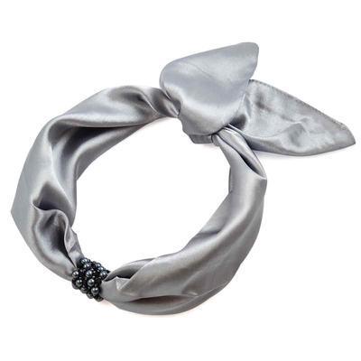 Šátek s bižuterií Letuška - šedý - 2