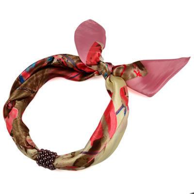 Šátek s bižuterií Letuška Light - růžový s potiskem - 2