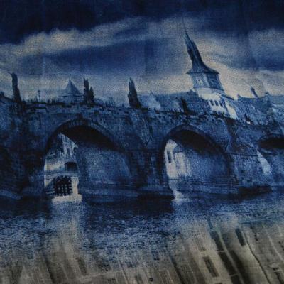 Tunelová šála 69tu011-30.71a - modrošedá Praha - 2