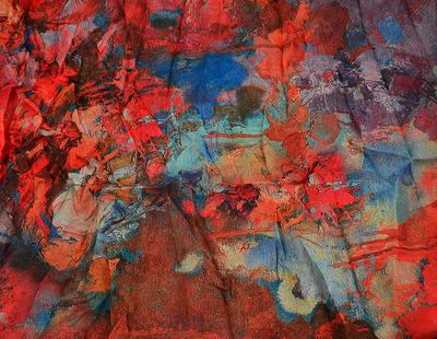 Tunelová letní šála 69tl008-20.31- červenomodrá abstrakce - 2