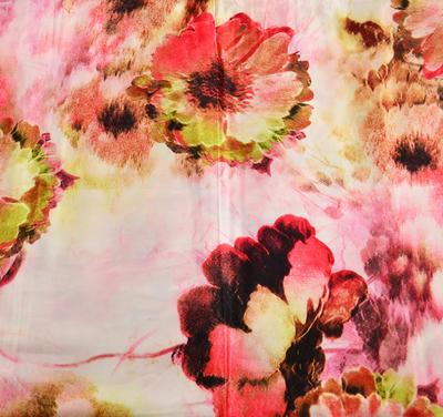 Tunelová šála 69ts004-23.22 - růžová s vínovým květinovým potiskem - 2