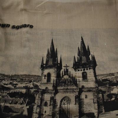 Velký bavlněný šátek 69pl011-43 - světle hnědá Praha - 2