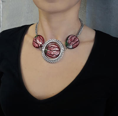 Necklace - red - 2