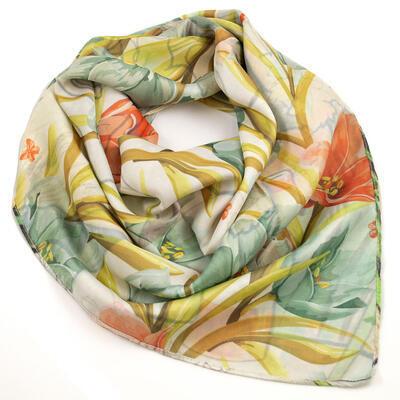 Velký oboustranný šátek - bílo-hnědý/zelený s potiskem - 3
