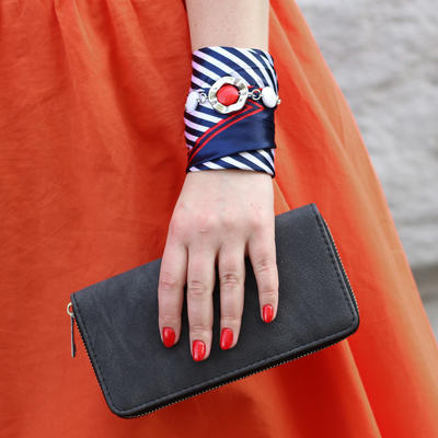 Šátek s bižuterií Stella - modrooranžový - 3