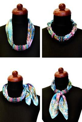 Jewelry scarf Stewardess - pink and blue - 3