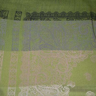 Šála teplá oboustranná - šedo-zelená s potiskem - 3