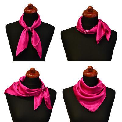 Šátek s bižuterií Letuška - růžovomodrý pruhovaný - 4