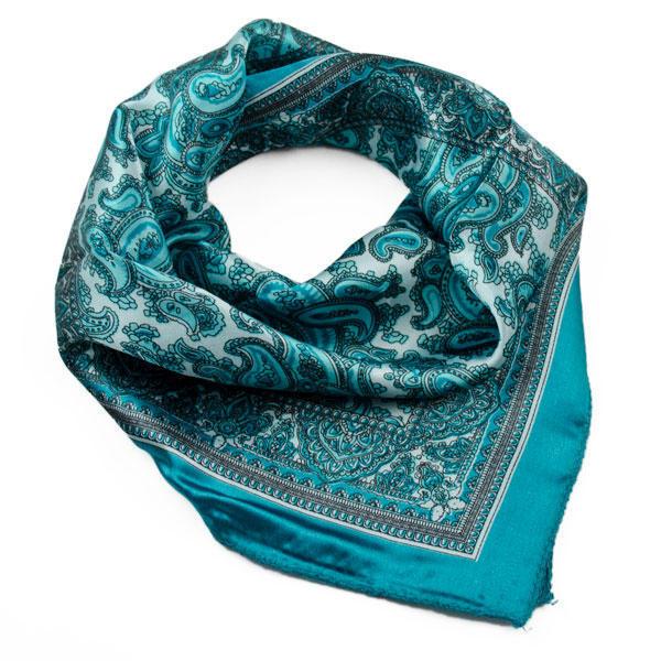 Šátek saténový 63fsk010-38 - modrozelený paisley