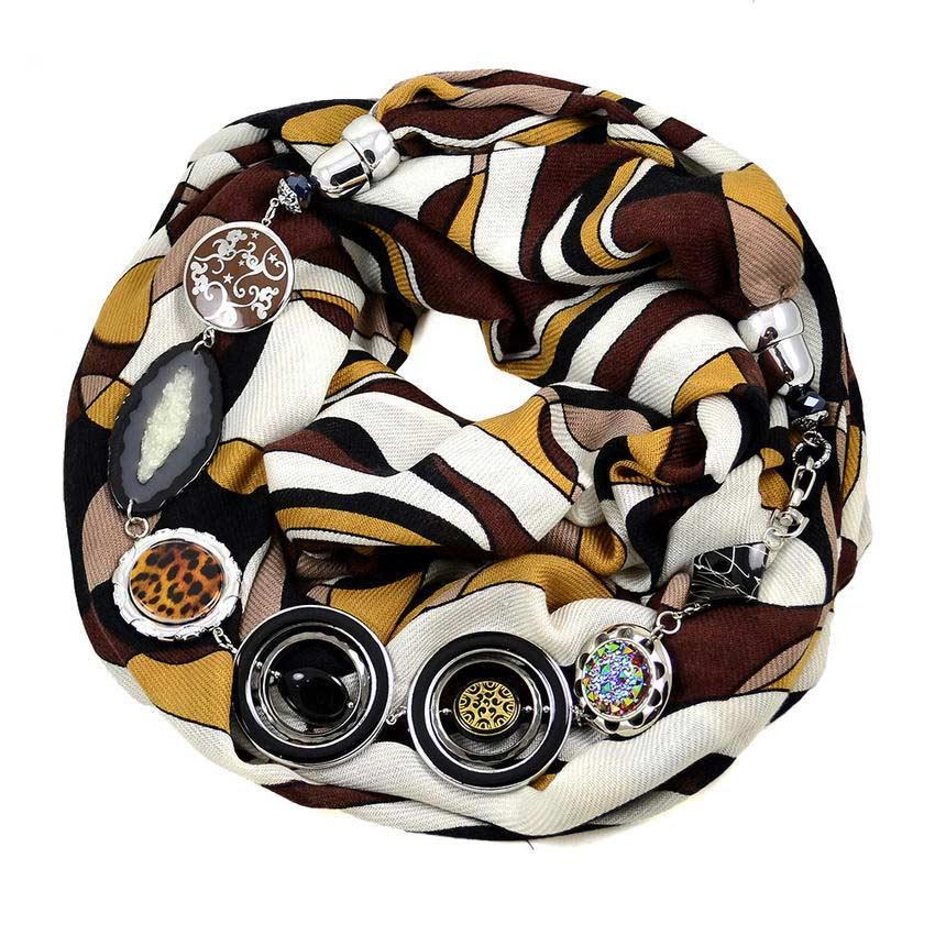 Kašmírová šála s bižuterií - bílohnědá s abstraktním vzorem