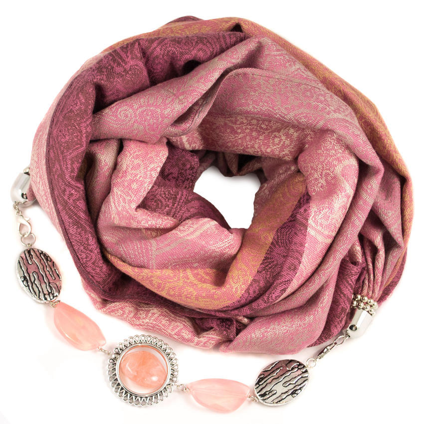 Kašmírová šála s bižuterií - růžová - Bijoux Me! 5890de4c19