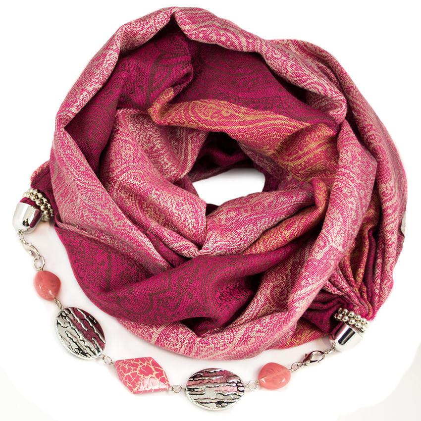 Kašmírová šála s bižuterií - růžová - Bijoux Me! 23e7449d3e