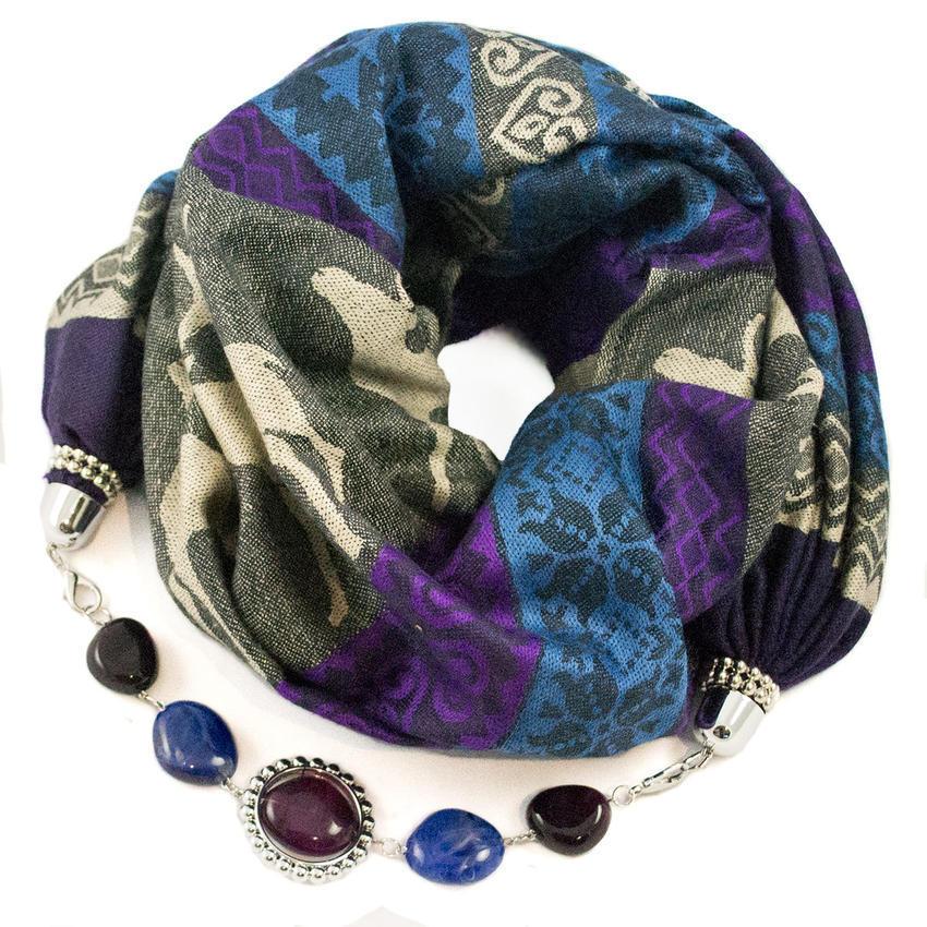 Kašmírová šála s bižuterií - modrofialová - Bijoux Me! d34f8d8472