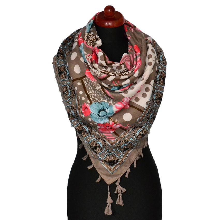 Maxi šátek - hnědý se vzorem