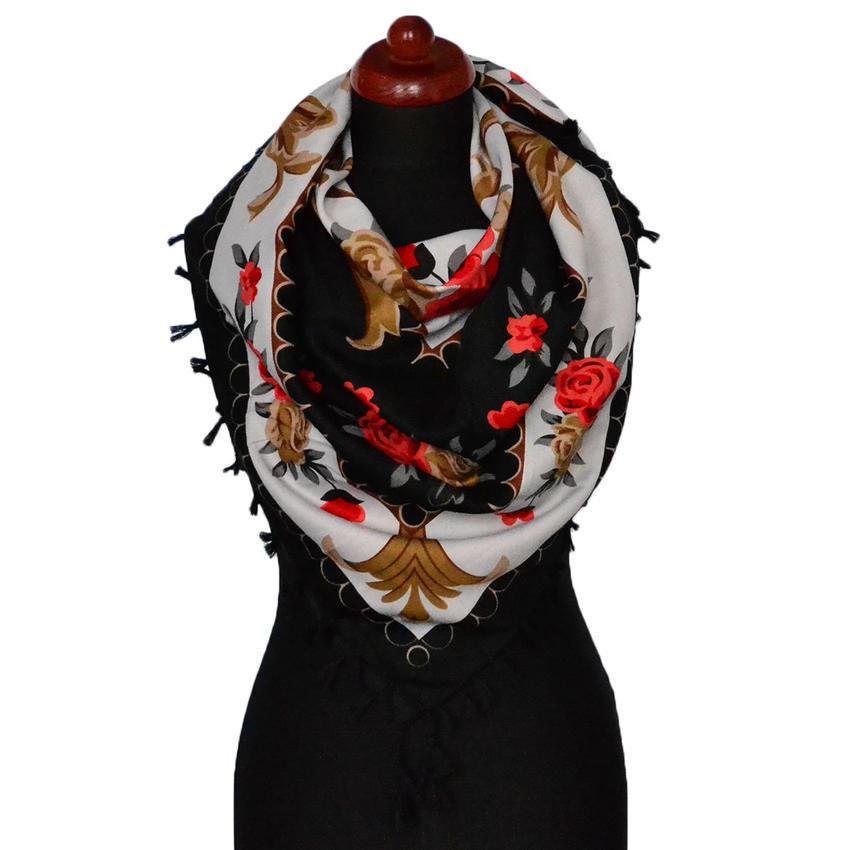 Maxi šátek - černočervený s potiskem