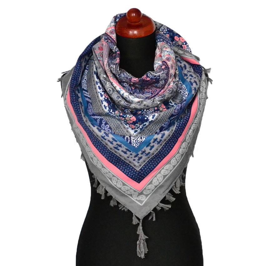 Maxi šátek - šedomodrý se vzorem